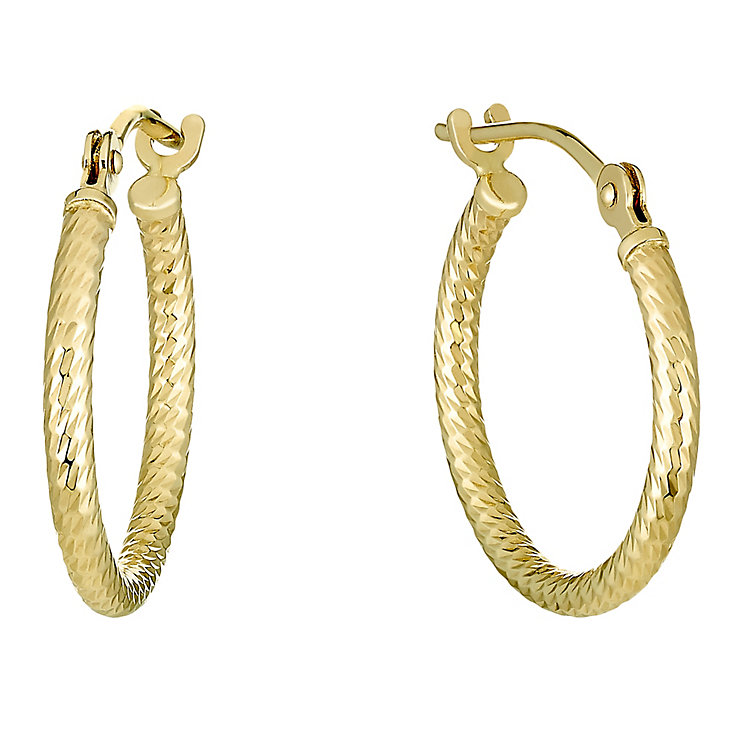 9ct Gold 15mm Tube Creole Earrings - Product number 3793478