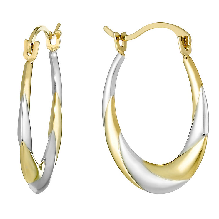 9ct Gold Two Colour Creole Earrings - Product number 3793540