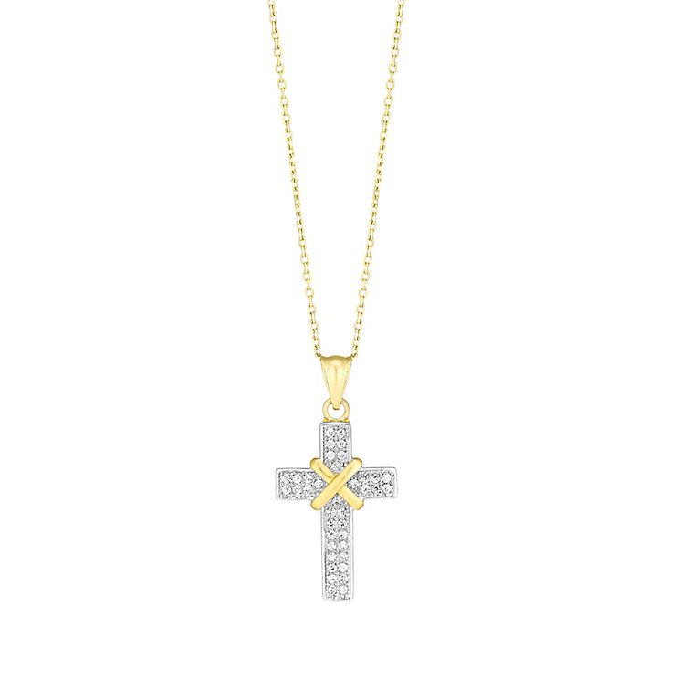 9ct Gold Two Colour Cubic Zirconia Set Cross Pendant - Product number 3793915