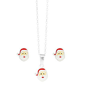 "Sterling Silver Enamel 14"" Santa Pendant & Stud Earrings - Product number 3794032"
