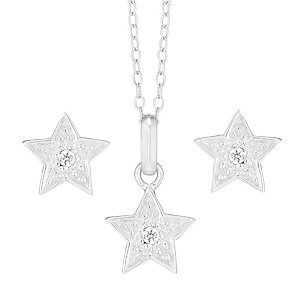 "Children's Sterling Silver 14"" Star Pendant & Stud Earrings - Product number 3794105"
