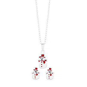 "Sterling Silver Enamel 14"" Snowman Pendant & Stud Earrings - Product number 3794113"
