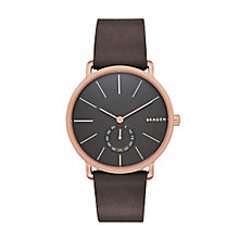 Skagen Men's Grey Dial Black Leather Strap Watch - Product number 3794180