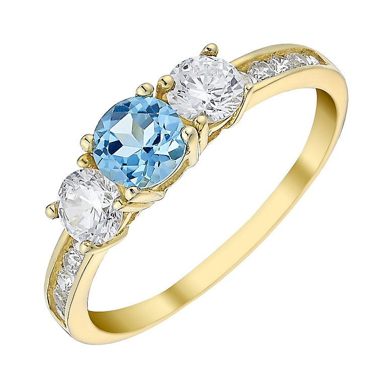 9ct Gold 3 Stone Blue Topaz & Cubic Zirconia Ring - Product number 3794717