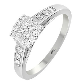 9ct White Gold 1/3 Carat Diamond Square Cluster Ring - Product number 3796736