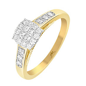 9ct Gold 1/3 Carat Diamond Square Cluster Ring - Product number 3797589