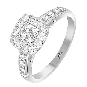 9ct White Gold 2/3 Carat Diamond Square Cluster Ring - Product number 3797740