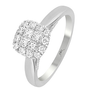 9ct White Gold 1/2 Carat Diamond Square Cluster Ring - Product number 3798038