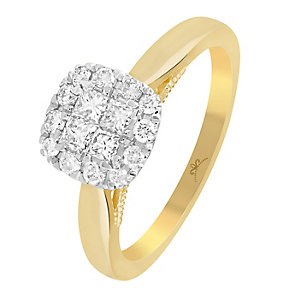 9ct Gold 1/2 Carat Diamond Square Cluster Ring - Product number 3798178