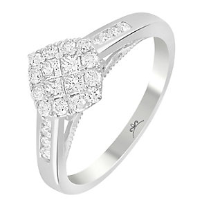 9ct White Gold 1/2 Carat Diamond Square Cluster Ring - Product number 3798569