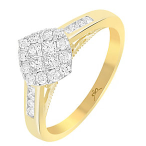 9ct Gold 1/2 Carat Diamond Square Cluster Ring - Product number 3798798