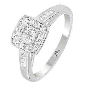 9ct White Gold 1/3 Carat Diamond Square Cluster Ring - Product number 3798925