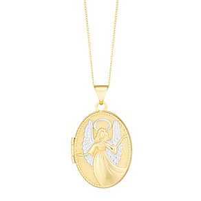 9ct Gold Two Colour Angel Locket - Product number 3799395