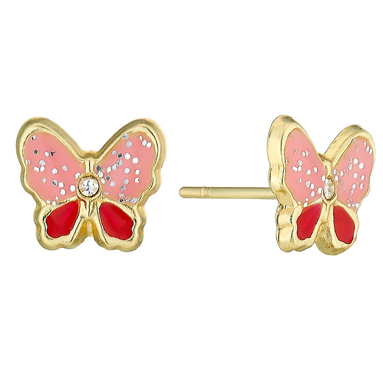 9ct Gold & Enamel Stone Set Butterfly Stud Earrings - Product number 3799530