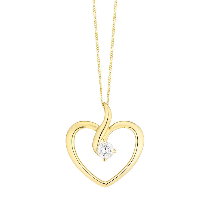 9ct Gold Cubic Zirconia Set Open Heart Pendant - Product number 3799549