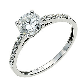 9ct White Gold Cubic Zirconia Solitaire Ring - Product number 3800474