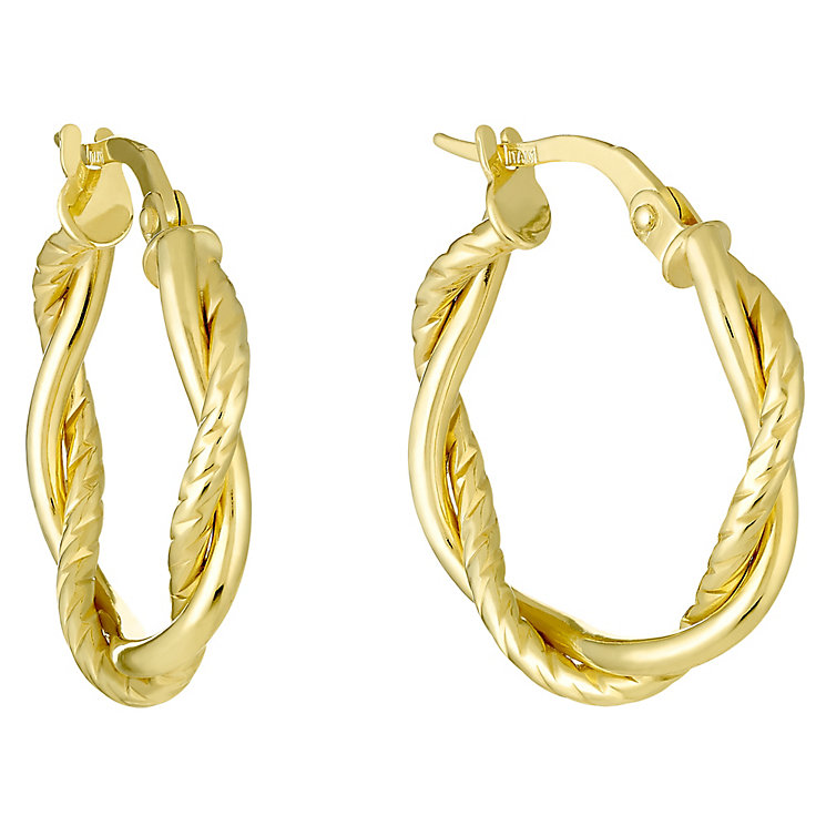 9ct Gold Twist Rope Creole Earrings - Product number 3800768