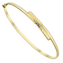 9ct Gold Half Textured Hinged Bangle - Product number 3801071