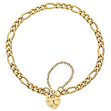 "9ct Gold 7.5"" Figaro Charm & Padlock Bracelet - Product number 3801179"
