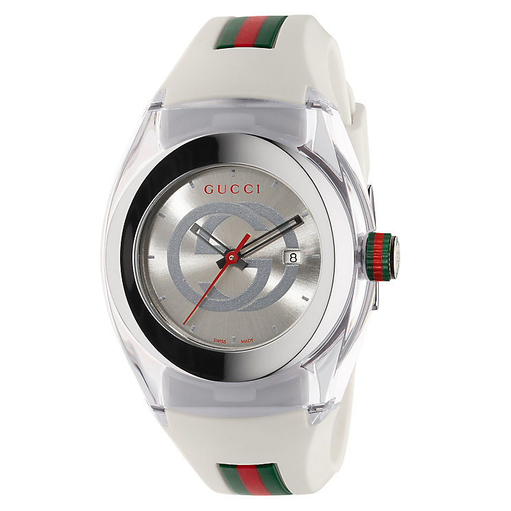Gucci Sync ladies' stainless steel white rubber strap watch - Product number 3801500