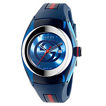 Gucci Sync ladies' stainless steel blue rubber strap watch - Product number 3801519