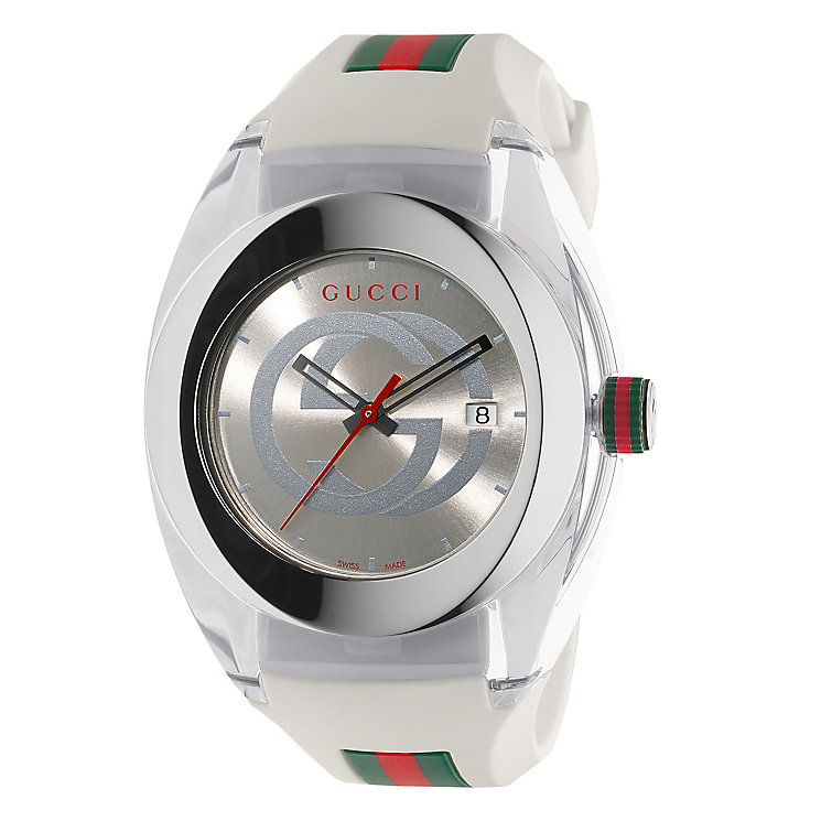 Gucci Sync men's stainless steel white rubber strap watch - Product number 3801640