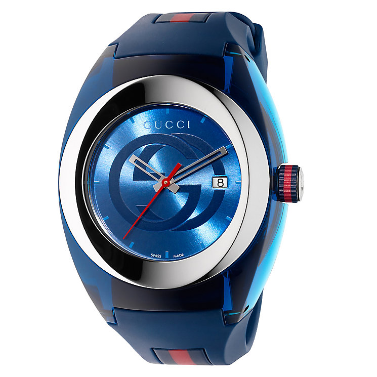 Gucci Sync men's stainless steel blue rubber strap watch - Product number 3801705