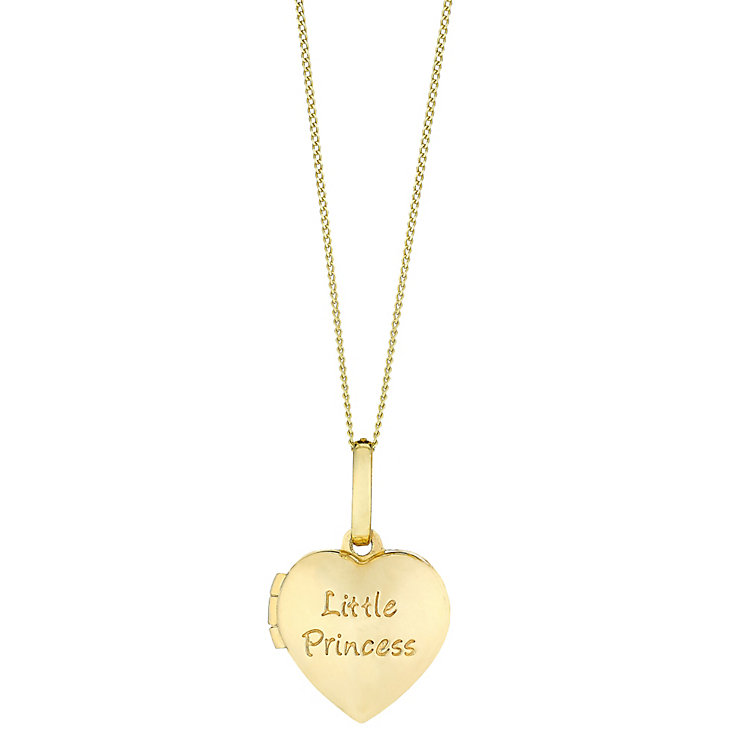 "Children's 9ct Gold 'Little Princess' Heart Locket 14"" Chain - Product number 3801861"