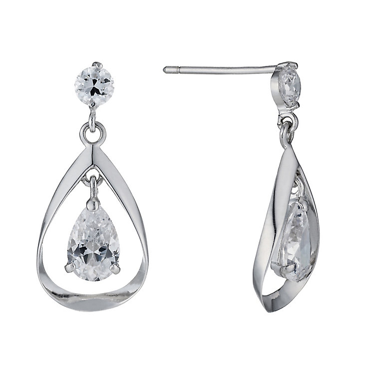 9ct White Gold Double Cubic Zirconia Drop Earrings - Product number 3801888