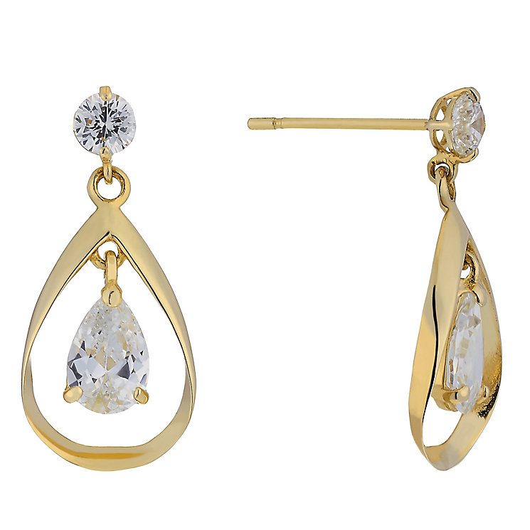 9ct Yellow Gold Double Cubic Zirconia Drop Earrings - Product number 3801918
