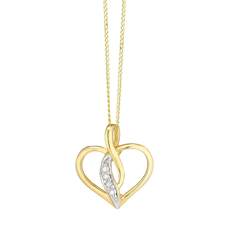 9ct Gold Cubic Zirconia Set Interwave Heart Pendant - Product number 3801926