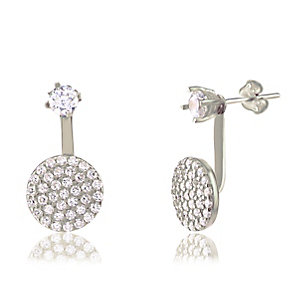 Gaia Sterling Silver Pave Stone Set Round Stud Earrings - Product number 3804925