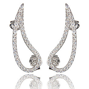Gaia Sterling Silver Stone Set Leaf Ear Climber Earrings - Product number 3804933