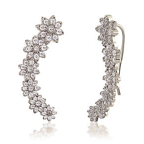 Gaia Sterling Silver Stone Set Flower Ear Climber Earrings - Product number 3804941