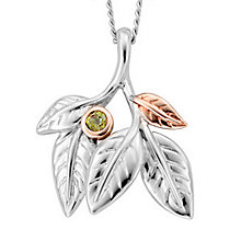 Clogau Gold Silver & 9ct Rose Gold Peridot Awelon Pendant - Product number 3805220