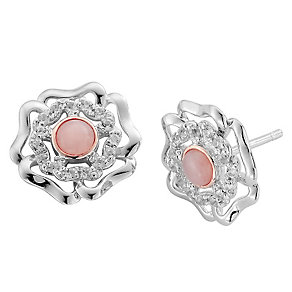 Clogau Gold Silver & 9ct Gold Tudor Rose Stud Earrings - Product number 3805689