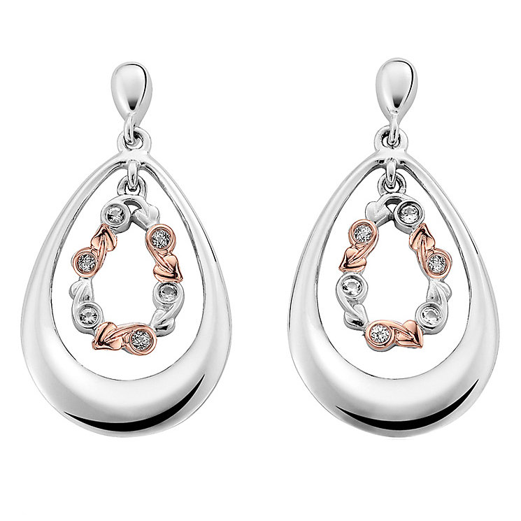Clogau Gold Silver & 9ct Gold Tree Of Life Drop Earrings - Product number 3805700