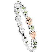 Clogau Gold Silver & 9ct Rose Gold Peridot Awelon Ring - Product number 3806170