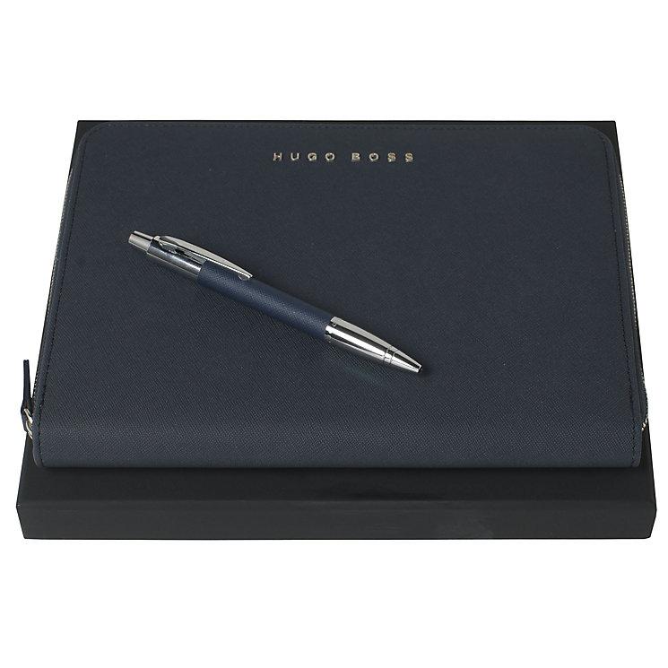Hugo Boss Saffiano blue ballpoint pen & A5 folder set - Product number 3809773