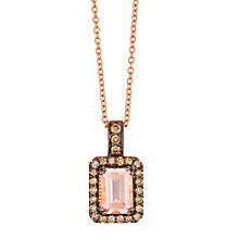 Le Vian 14ct Rose Gold Chocolate Diamond & Morganite Pendant - Product number 3814076