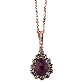 Le Vian 14ct Strawberry Gold Diamond & Rhodolite pendant - Product number 3814149