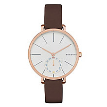 Skagen Hagen Ladies' Rose Gold Tone Brown Strap Watch - Product number 3815986