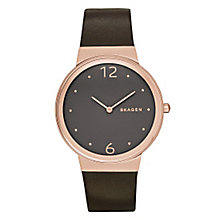 Skagen Freja Ladies' Rose Gold Tone Leather Strap Watch - Product number 3816001