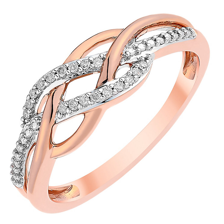 9ct Rose Gold Diamond Figure Of 8 Eternity Ring - Product number 3816044