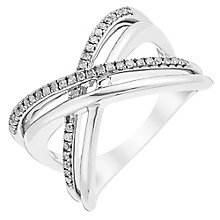 Sterling Silver Diamond Set Crossover Eternity Ring - Product number 3816184