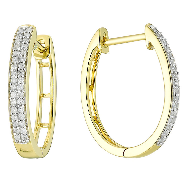 9ct Gold 1/5 Carat Diamond Hoop Earrings