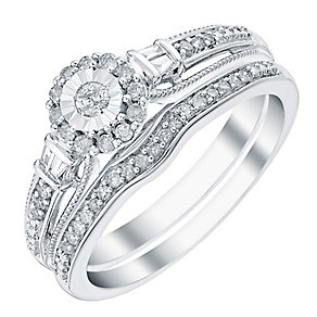9ct White Gold 1/4 Carat Diamond Bridal Ring Set - Product number 3817172