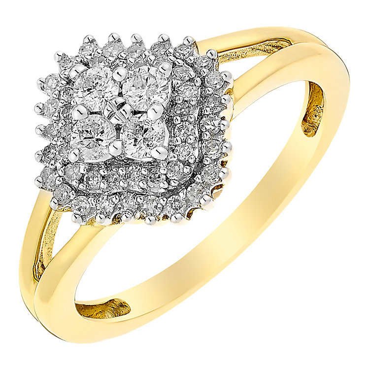 9ct Gold 1/3 Carat Diamond Cluster Ring - Product number 3817326