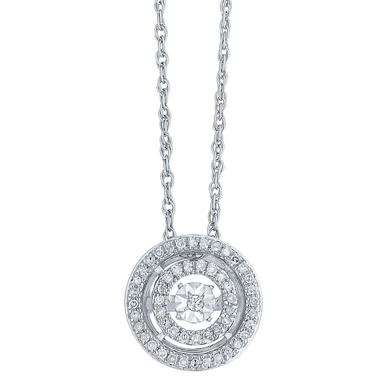 Diamonds In Rhythm Sterling Silver Diamond Circle Pendant - Product number 3817482