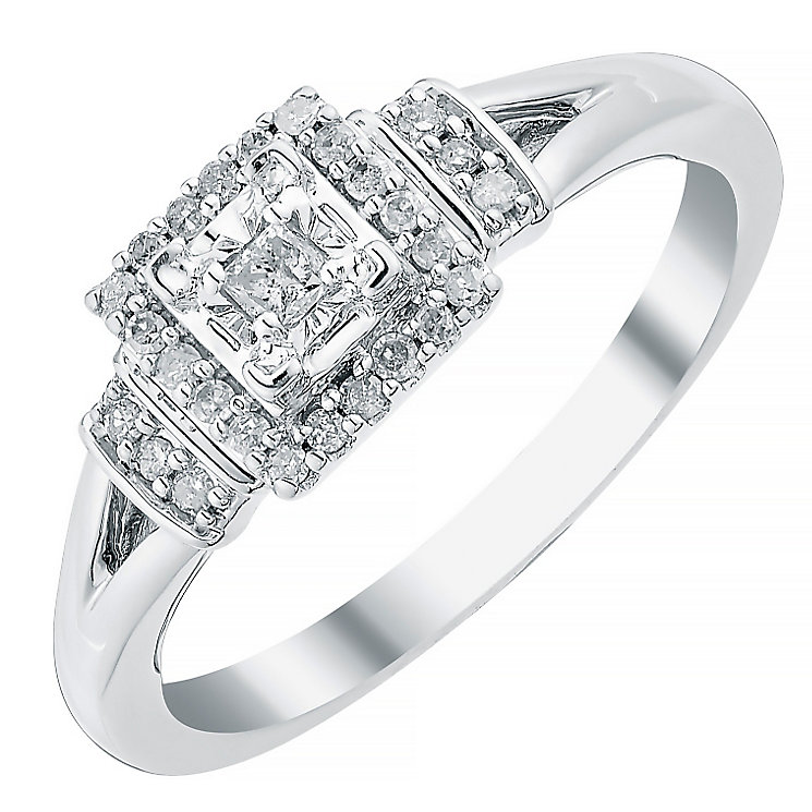 9ct White Gold Princess Cut Diamond Solitaire Ring - Product number 3817768